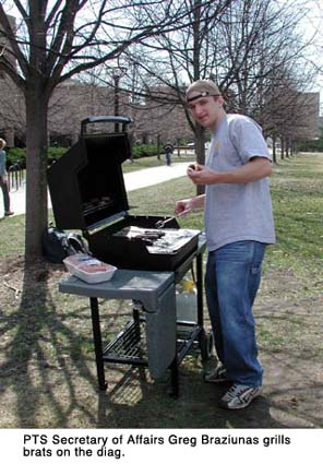 Grilling brats on the Diag