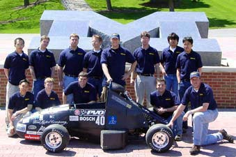 team,The 2002 MRacing team poses with their award-winning formula car