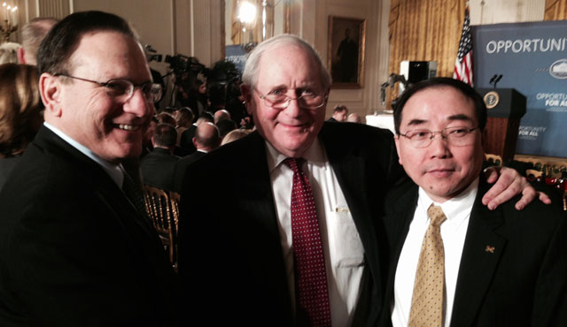 Alan Taub (MSE), Michigan Senator Carl Levin and Jack Hu (ME) at the White House.